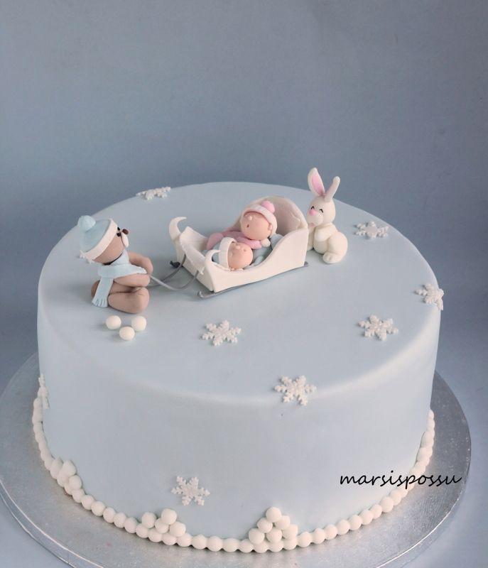 Marsispossu: Talvinen ristiäiskakku kaksosille, Christening cake for twins.