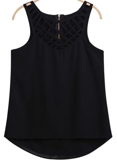 15.00 Black Sleeveless Hollow Zipper Chiffon Vest