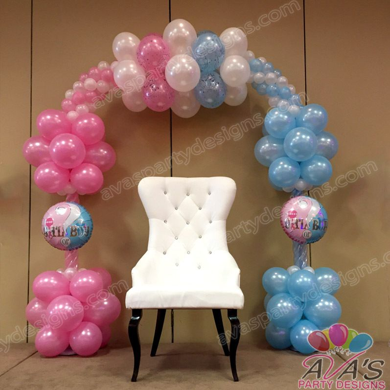 Gender reveal balloon arch baby shower pinterest for Balloon decoration for baby shower