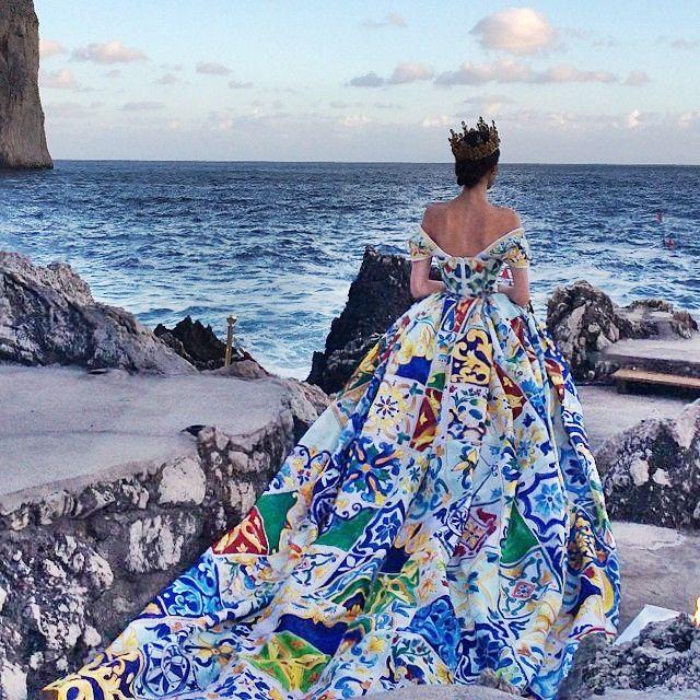4a93055ec4 Dolce & Gabbana, Capri. The show... | Royal | Dresses, Fashion ...