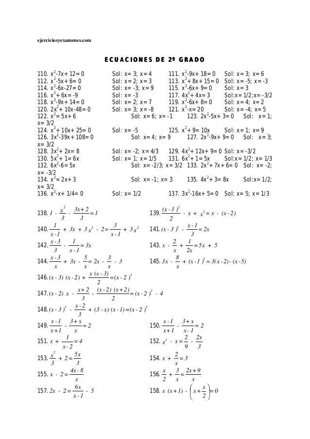 Ecuaciones De Primer Grado Ecuaciones De 2 Grado Primeros Grados Ecuaciones