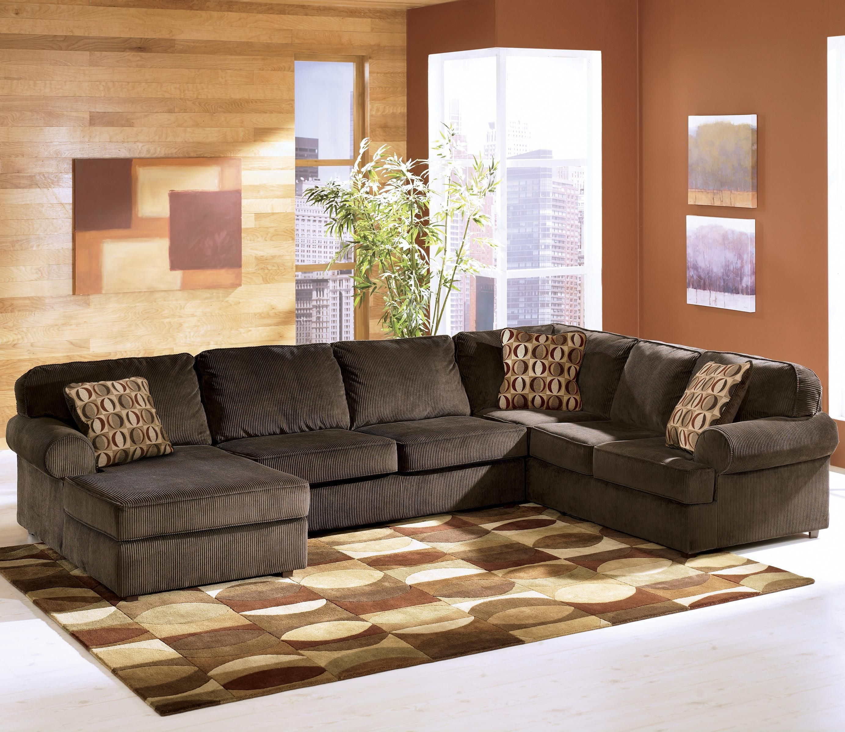 Vista Chocolate 3 Piece Sectional With Left Chaise By Ashley