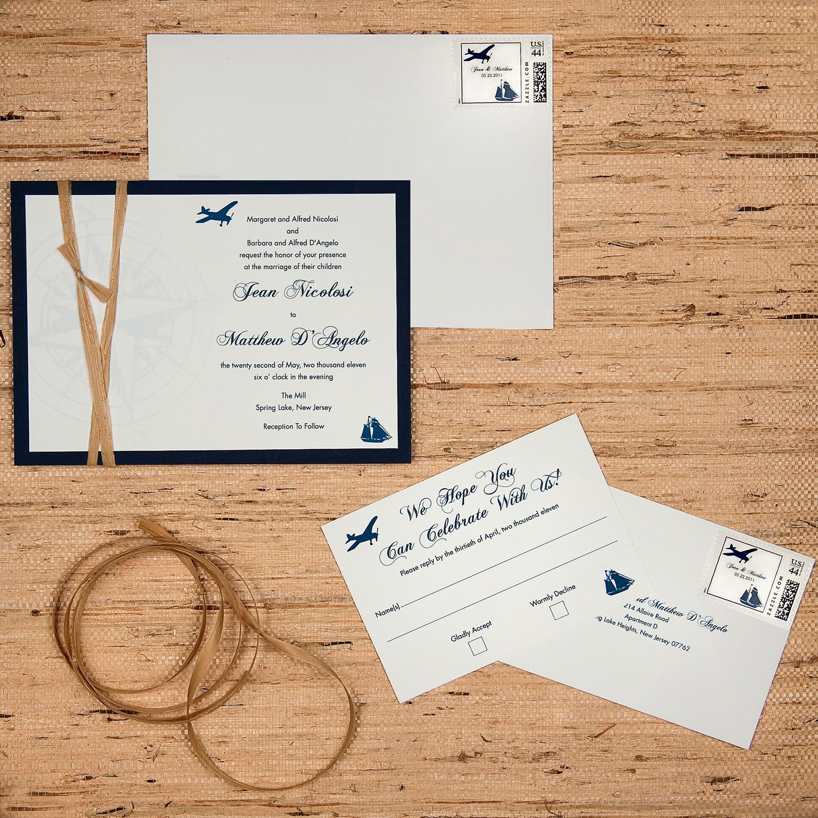 two layer wedding invitation, white linen paper and navy matte paper ...
