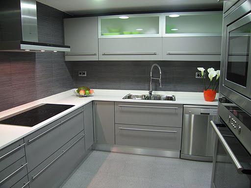 cocinas modernass cocina con el gris como fondo