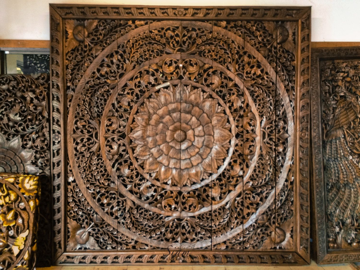 Large Carved Wood Panel. Teak Wood Wall Hanging Decorative. Balinese Lotus  Flower. Oriental - Large Carved Wood Panel. Teak Wood Wall Hanging Decorative