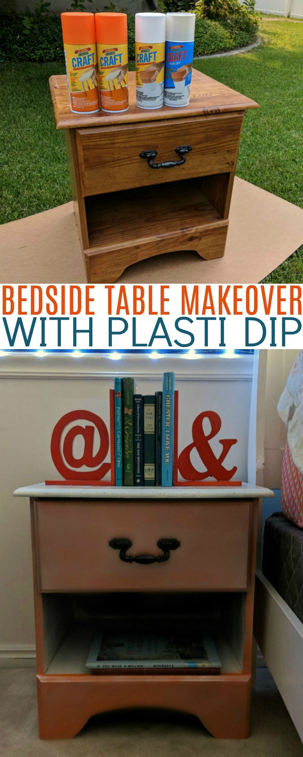 Bedside Table Makeover With Plasti Dip Bedside table