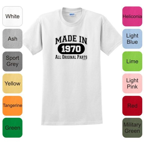 50th Birthday Gifts Made in 1970 All Original Parts T-Shirt 2000 – BD-44