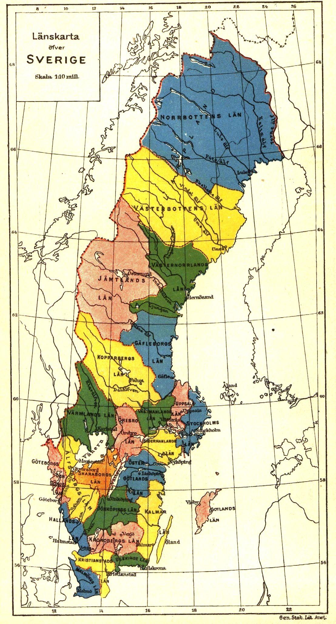 svensk karta län svenska län karta   Google Search | Sweden & Swedish | Pinterest svensk karta län