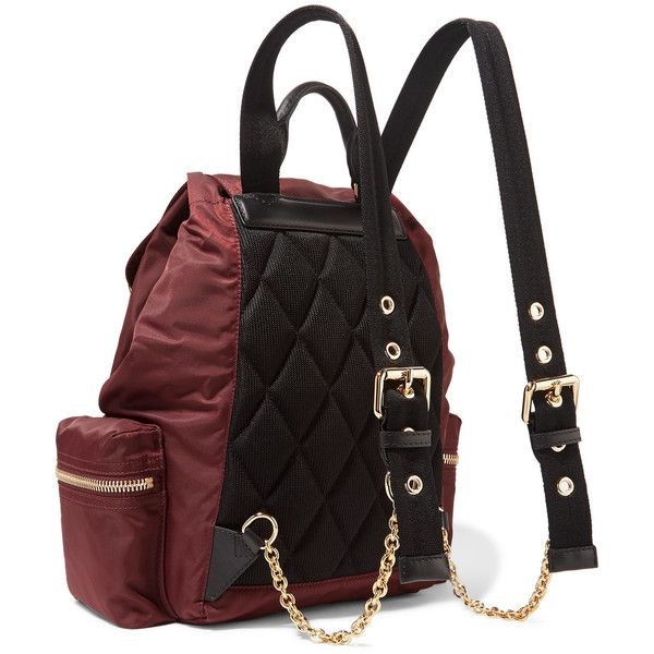 Leather-trimmed Gabardine Backpack - Burgundy Burberry BOnXAzMB