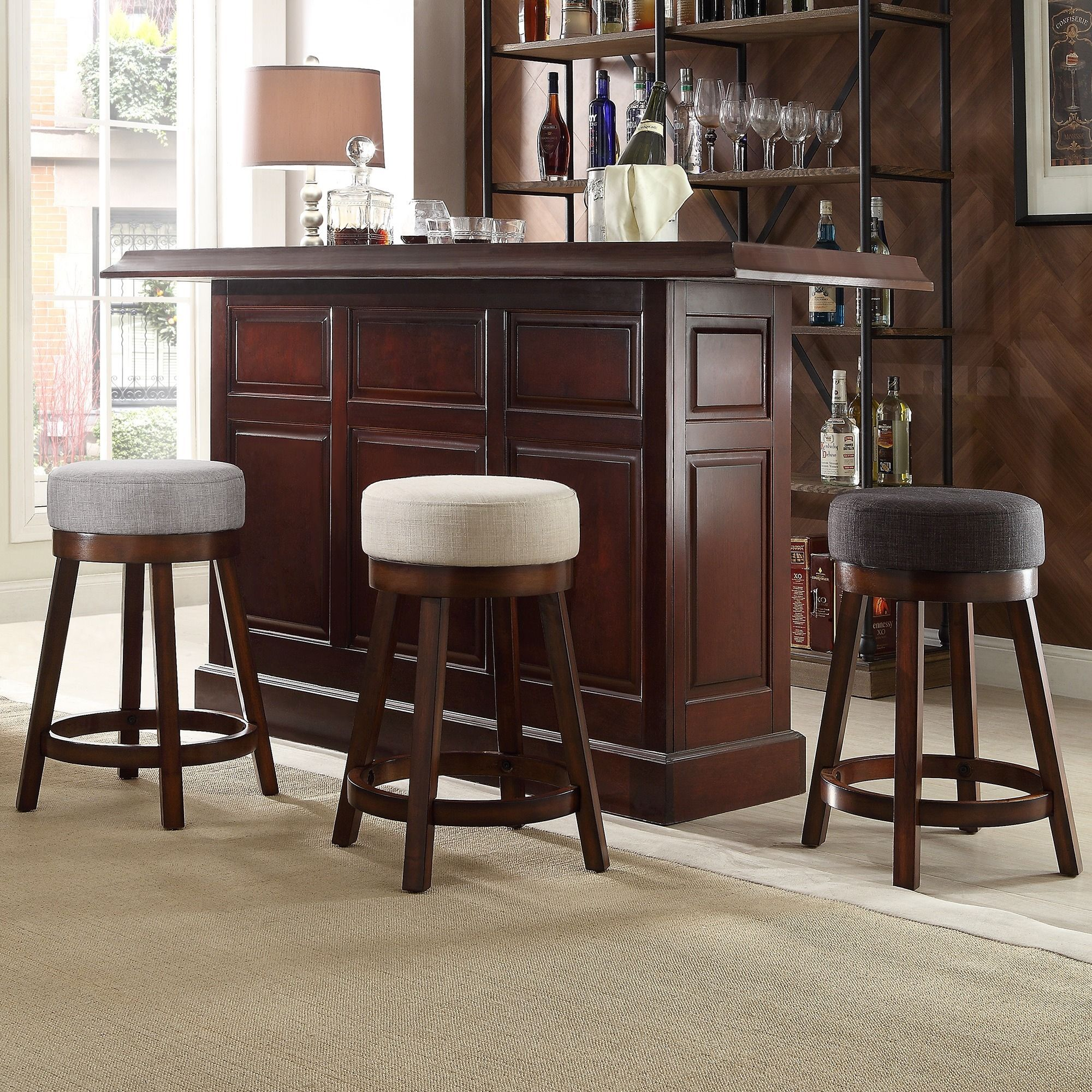 INSPIRE Q Reese Cherry Swivel 24-inch Linen Round Counter Stool (Set of 2