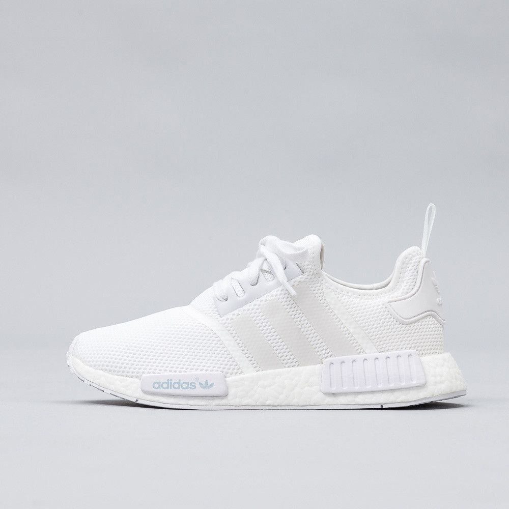buy online 4d6d5 58f06 All-white NMD R1. Two tone circular knit upper for a sock ...