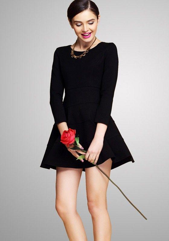 Black Plain Round Neck Long Sleeve Polyester Dress - Mini Dresses