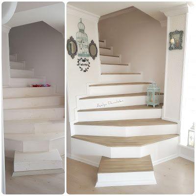 Beyaz Mucizeler Merdiven Boyama Dekoratif Taş Duvar Yapılışı