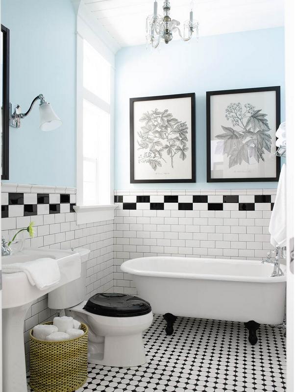 Vintage Black And White Tile Bath Tile Bathroom Bath Ice Cream