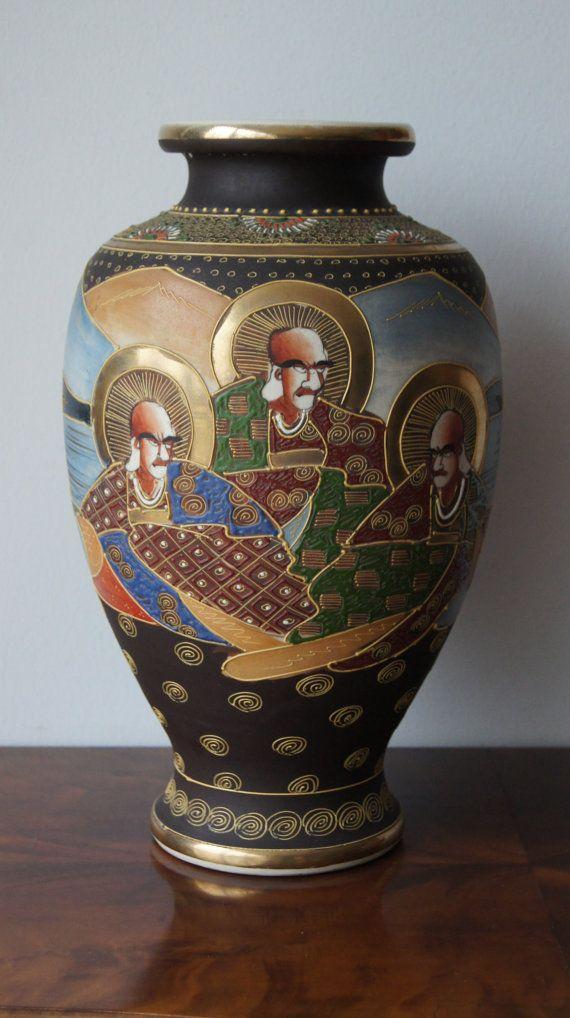 Big Satsuma Hand Painted Vase Japanese Mejii Pottery 15 Painted