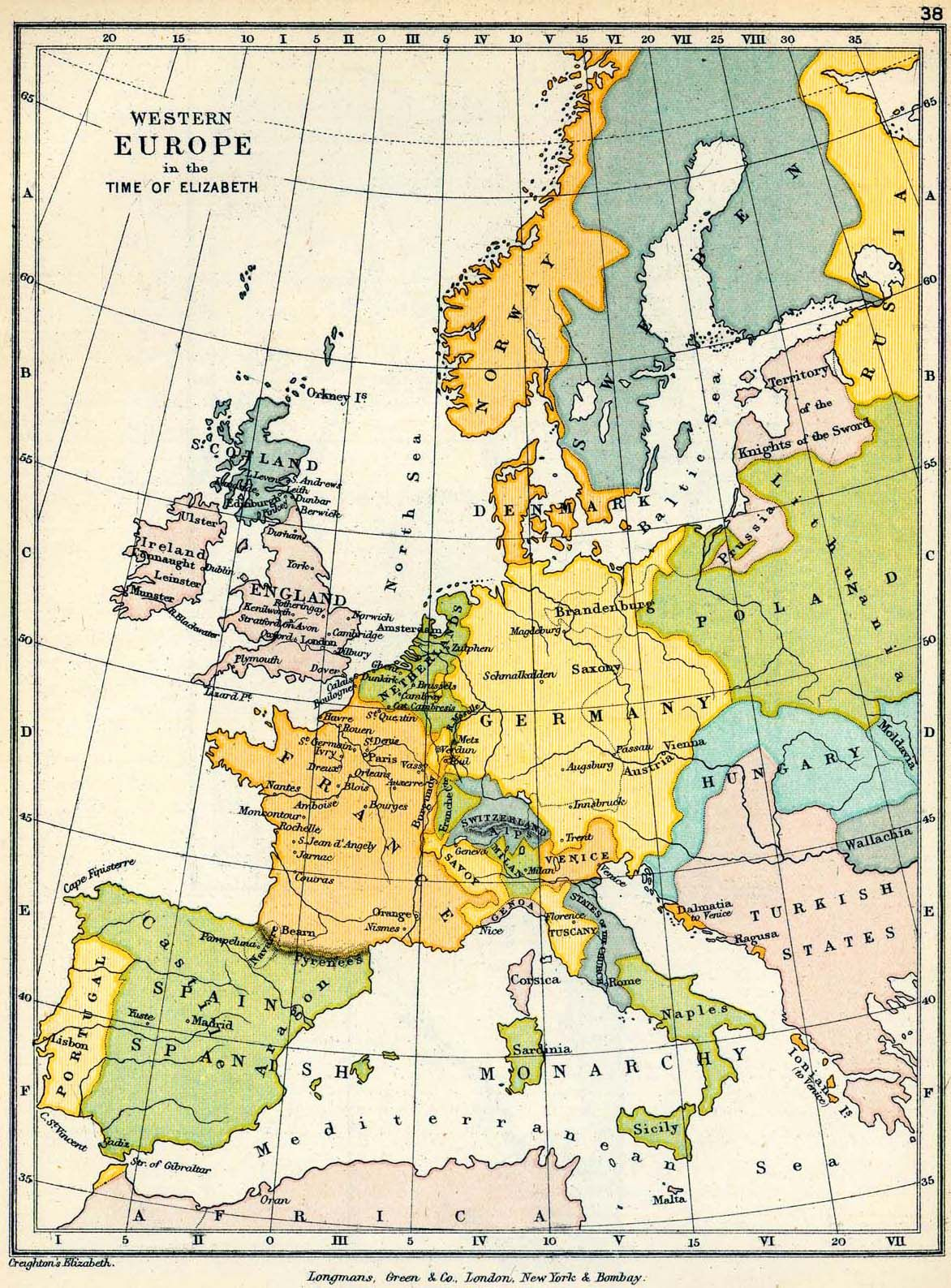Map of Western Europe in the Time of Elizabeth | Mimi Speike | Map ...