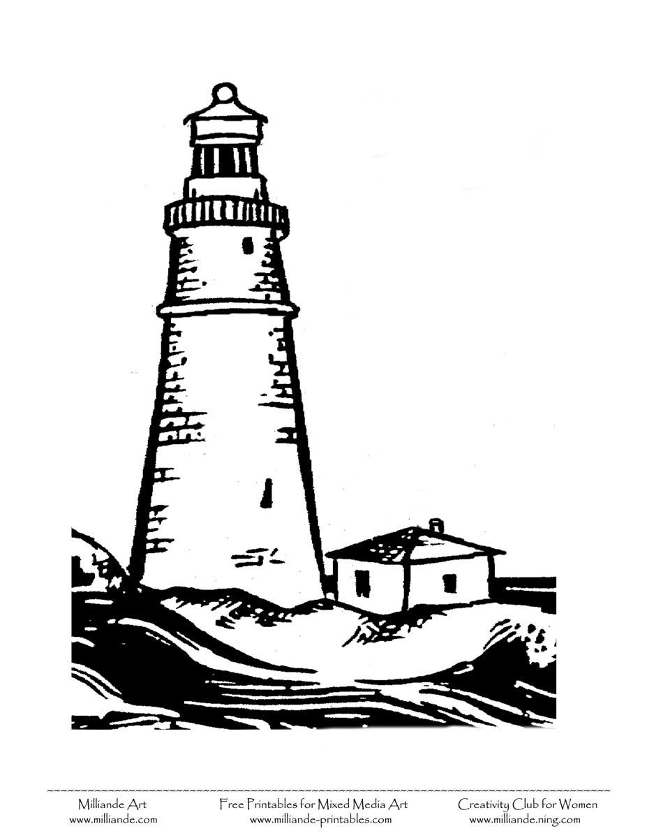 Line Art Lighthouse : Free printable black art clipart coloring pages