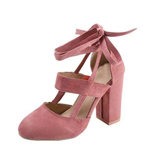 710211d399e7 Minetom Sexy Eté Sandales Hautes Femme Sandales Daim Cuir Lacées Talon  Carrés Couleur Unie High Heels Chaussures Pink EU 38