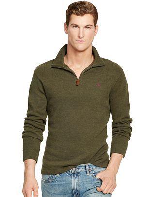Polo Ralph Lauren Men's Half Zip Ribbed Mock Neck Sweater (S, Green)