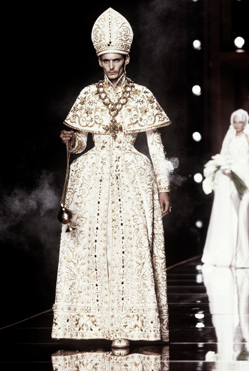John Galliano Dior Haute Couture A/W 2000 - this pope-ish guys gown is beyond bizarre even for Galliano