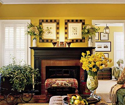 Living Room Fireplace And Golden Walls Southern Living Rooms Feminine Living Room Cozy Living Rooms