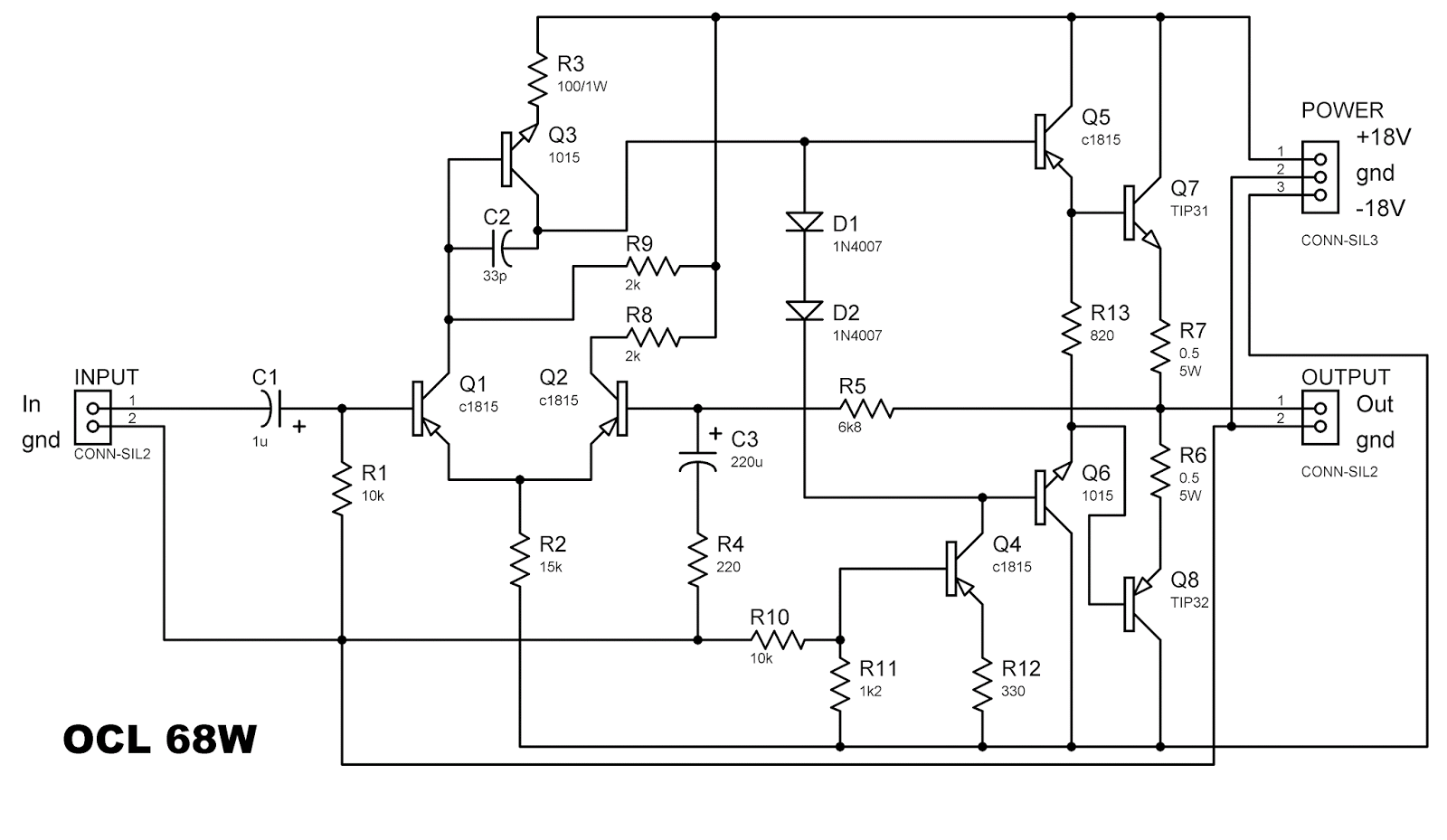 ocl 68 watt power amplifier circuit diagram