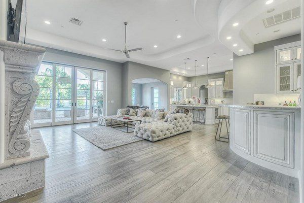 Spectacular Living Room Design Gray Hardwood Floor White Furniture Tufted Sofa