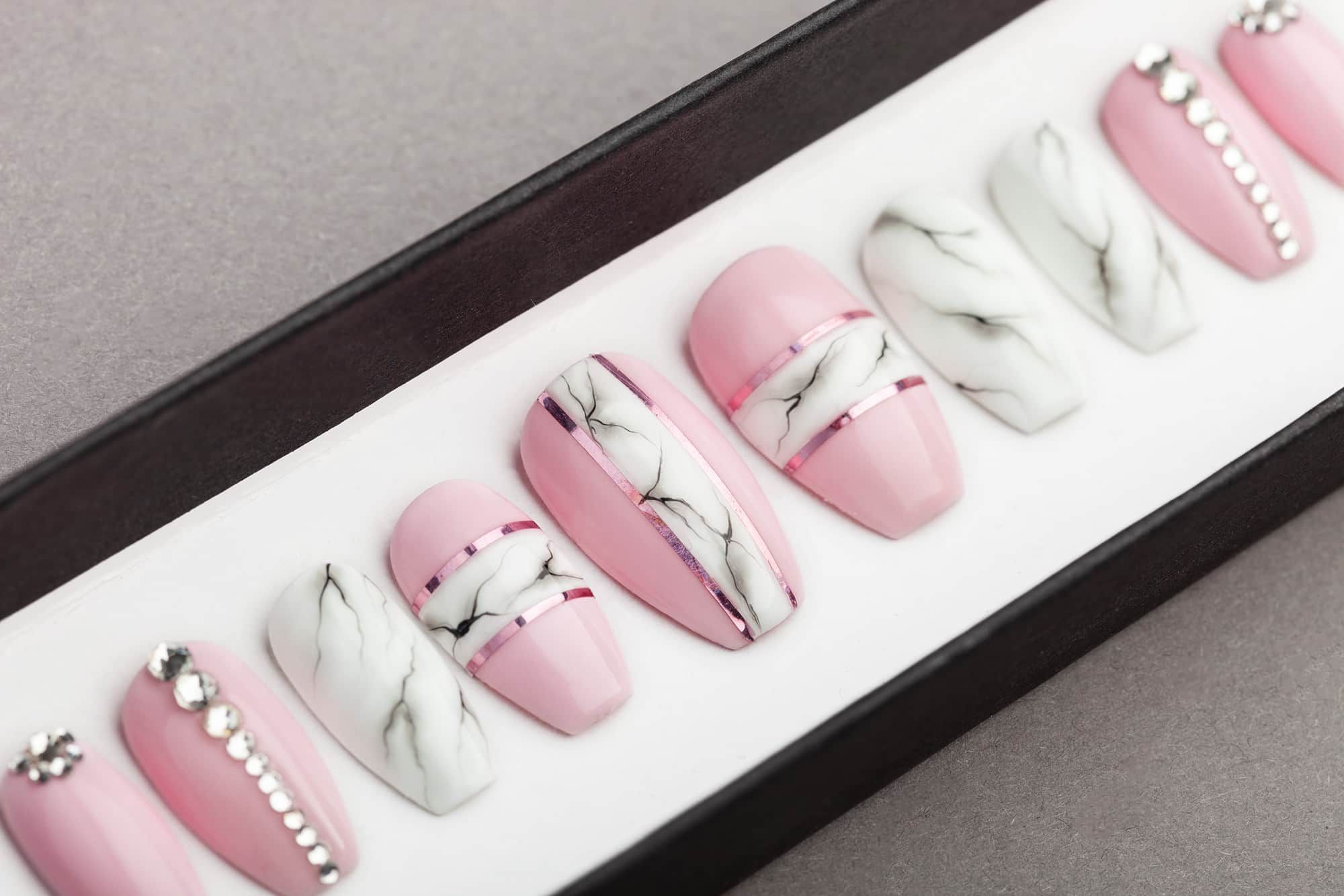 Pink White Marble Press On Nails With Rhinestones Lilium Nails Press On Nails Glue On Nails Rhinestone Nails