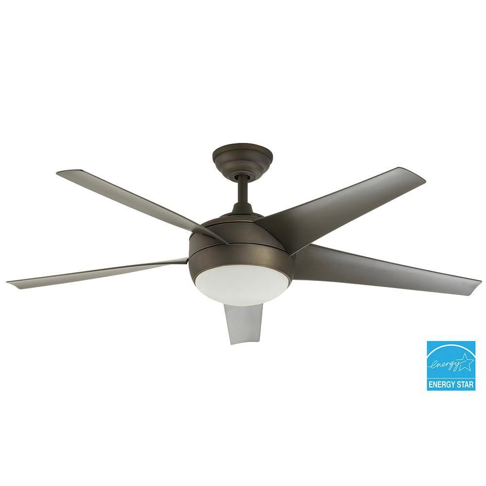 Home Decorators Collection Windward Iv 52 In Gu24 Cfl Indoor Oil Rubbed Bronze Ceiling Fan With Light Kit And Remote Control 26661 The Home Depot Bronze Ceiling Fan Ceiling Fan Ceiling