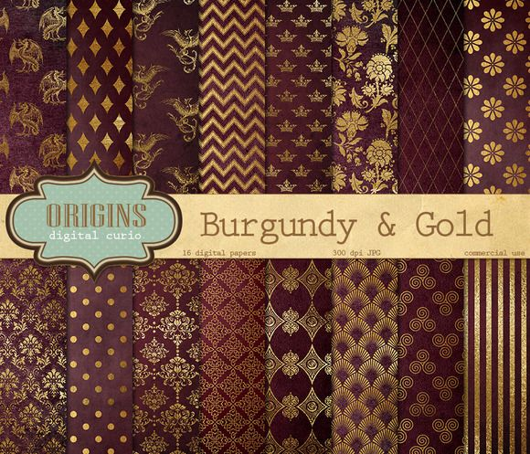 Burgundy And Gold Digital Paper Digital Paper Background And Gold