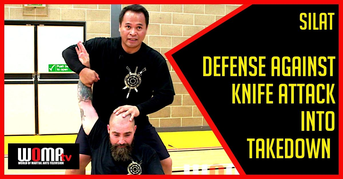 Defense against knife attack into takedown basic advanced