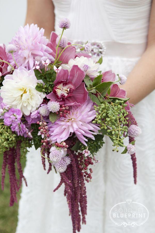BouquetBlueprint Burgundy Wild Flower Crescent Wedding Bouquet And Boutonniers Full Of Movement