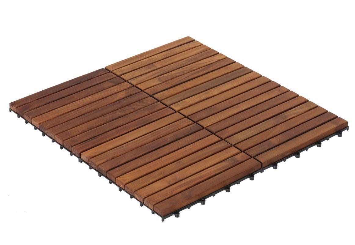 Ez Floor 12 X 12 Teak Wood Snap In Deck Tiles In Oiled Deck Tile Deck Tiles Interlocking Deck Tiles