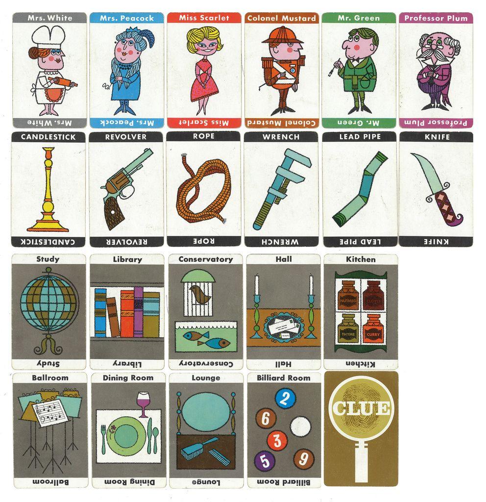 60's Clue Cards Cluedo, Jeux de société, Détective
