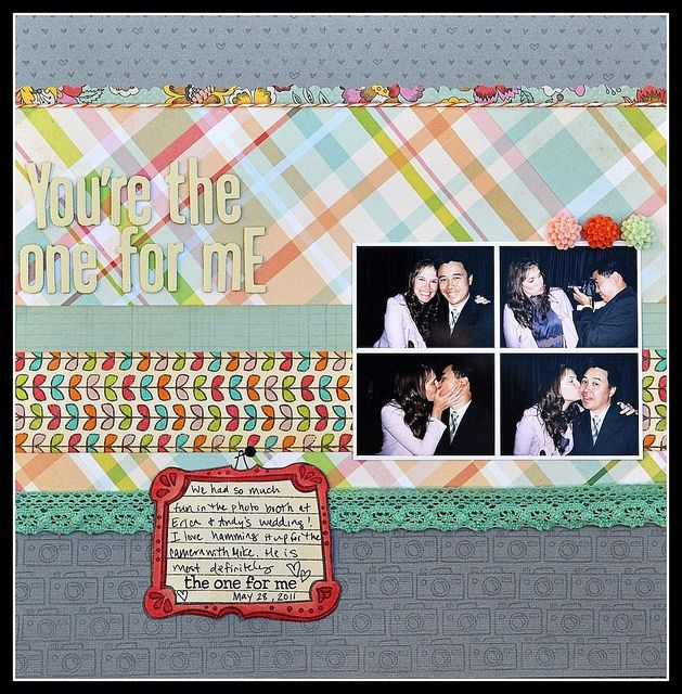 I love this LO that Kelly made with custom stamped backgrounds and the simple quadrant of photos.