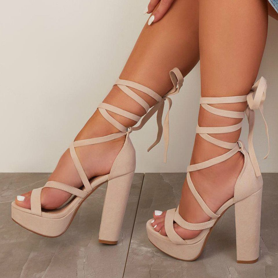 Red Lace-up Block High Heels – Save 20%