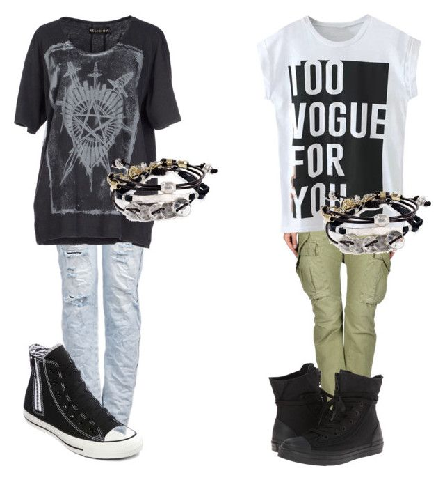 """ROCK"" by upn-neo ❤ liked on Polyvore featuring Converse, Religion Clothing, 40WEFT and Robert Lee Morris"