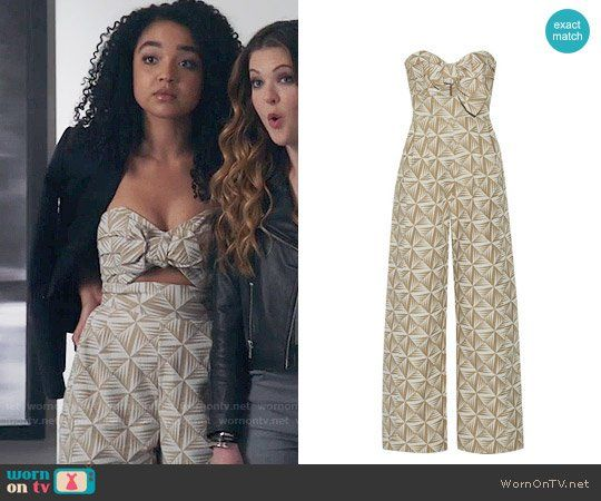 f49b4684a7 Kat s beige geometric print jumpsuit on The Bold Type. Outfit Details   https