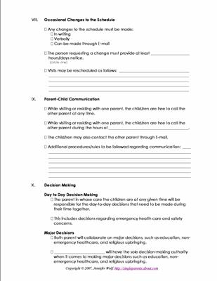 86 Co Parenting Plan Template Stunning Parenting Plan Template