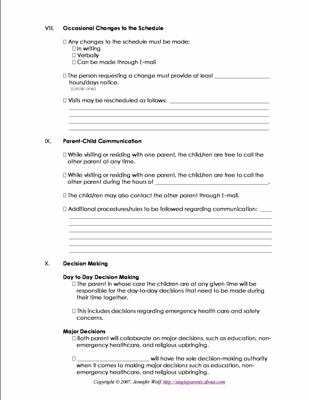Free Printable Forms For Single Parents Strength Parenting Plan