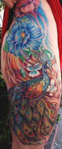 tattoo peacock flower - Google Search