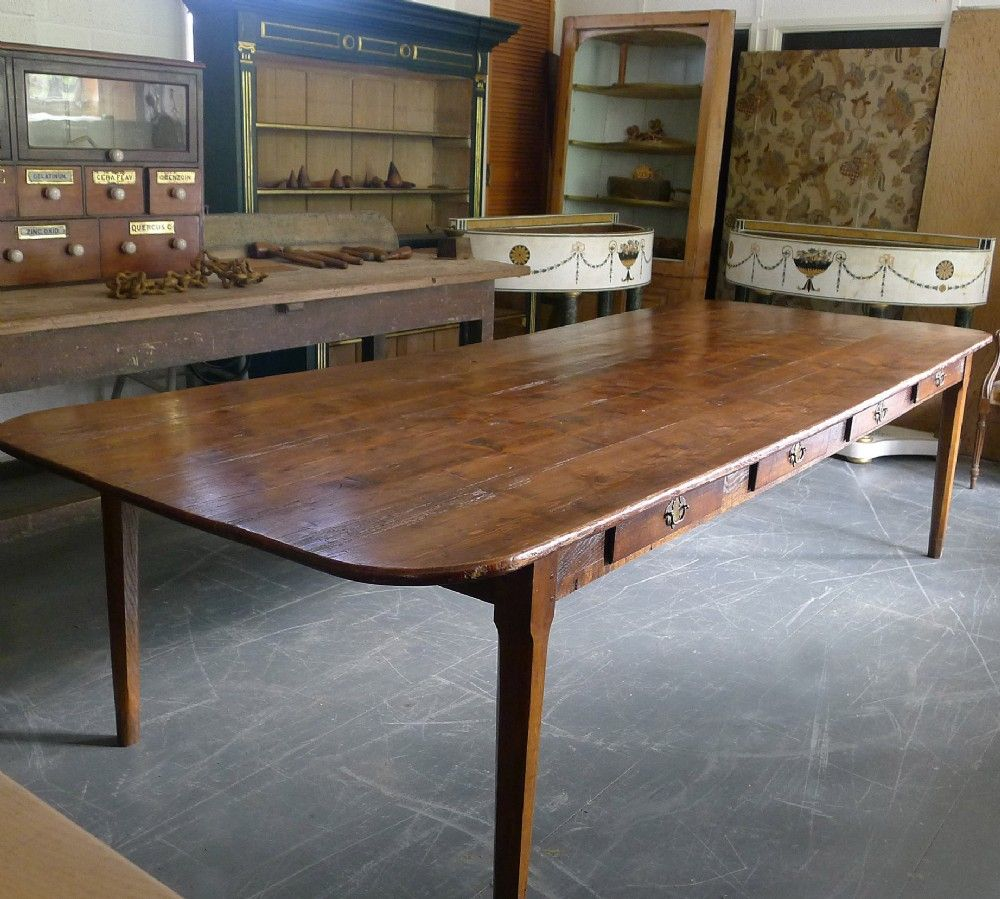 LARGE FARMHOUSE TABLE EIGHT DRAWERS 19TH CENTURY SEATS