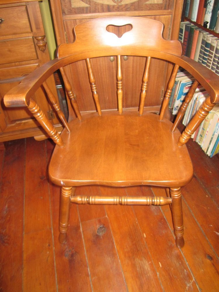 Indiana Tell City Maple Captainu0027s Chair Early American Colonial Furniture  1960u0027s Part 65
