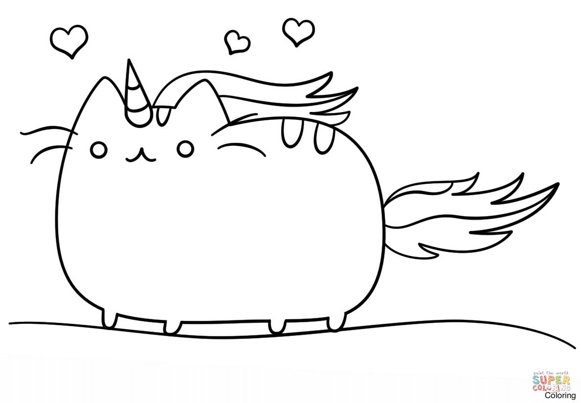 Kawaii Cat Unicorn Coloring Page Free Printable Pages And Pusheen