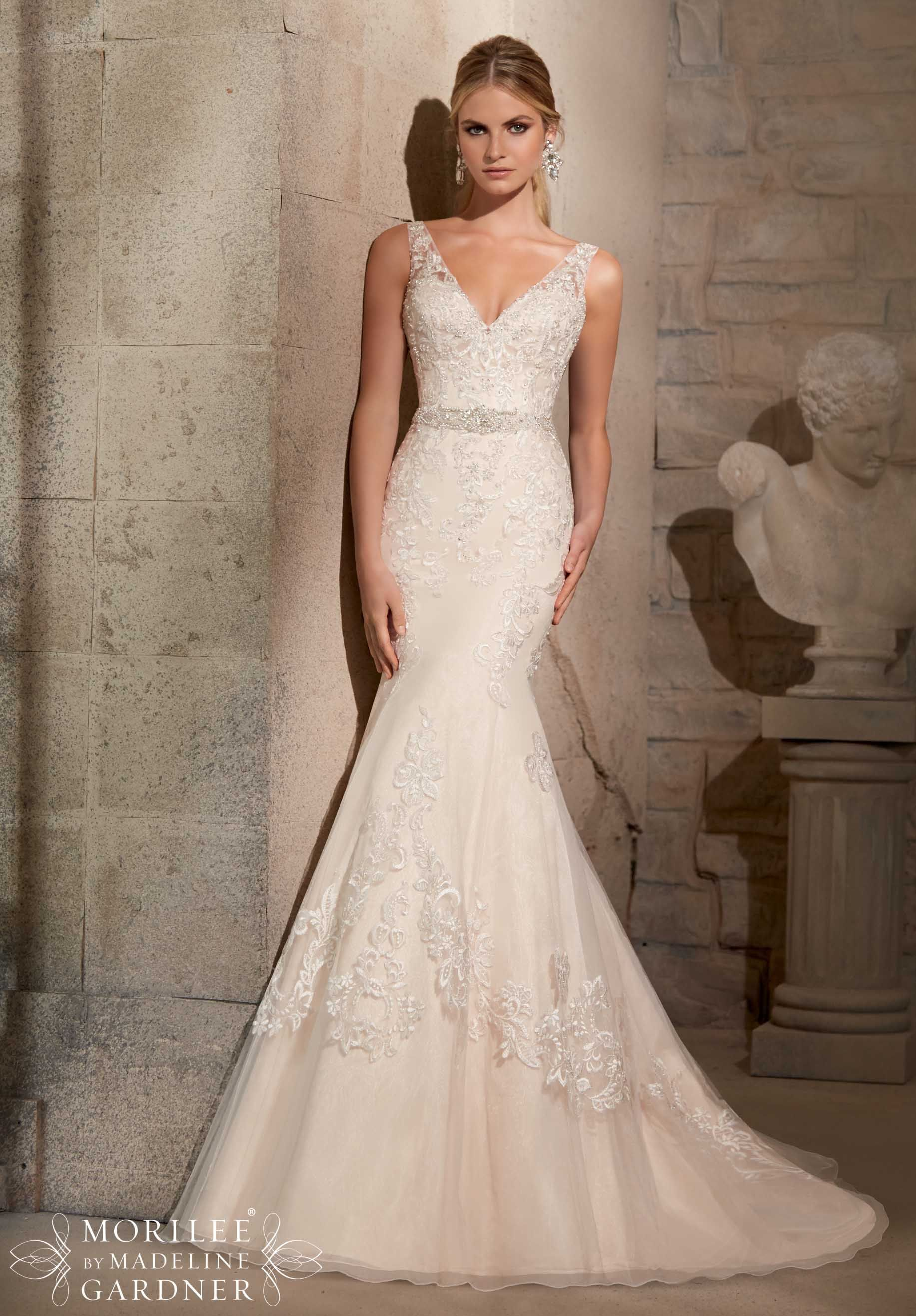 Gold belt for wedding dress  Wedding Gowns by Morilee featuring Embroidered Appliques on Net with