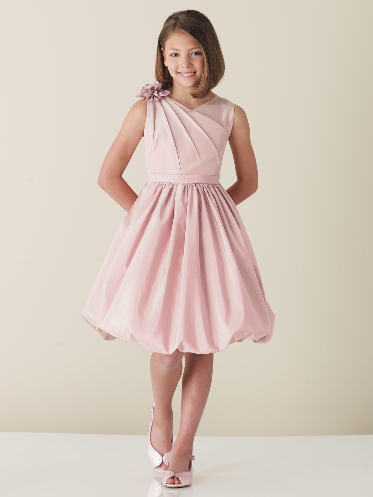 Pink Junior Bridesmaid Dresses | Pink Knee Length Satin Junior ...