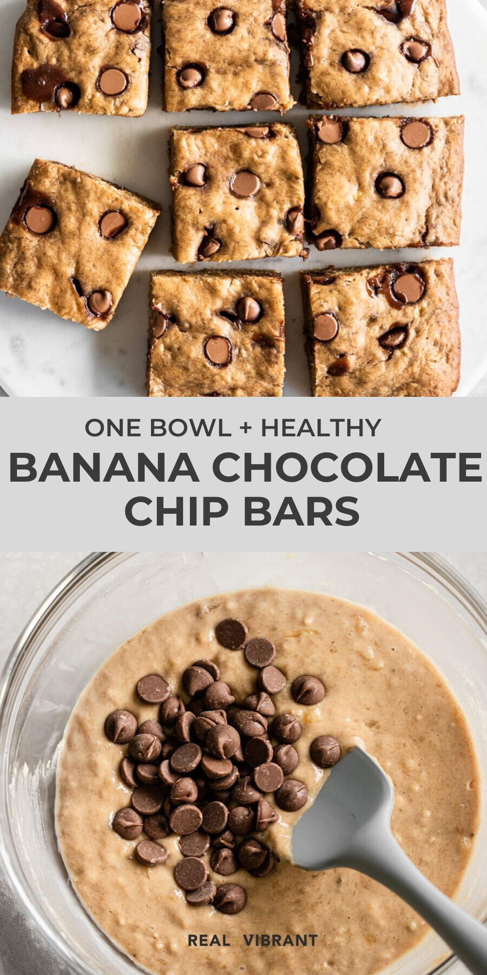 Banana Chocolate Chip Bars (Easy, Healthy, One Bowl!)