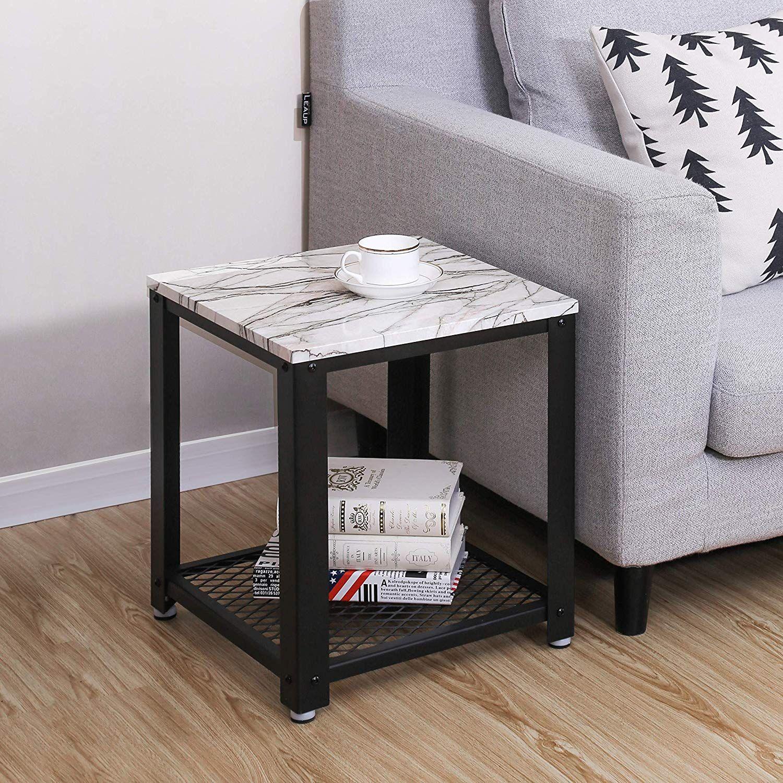 Adjustable Feet 4 leg levelers balance the end table on