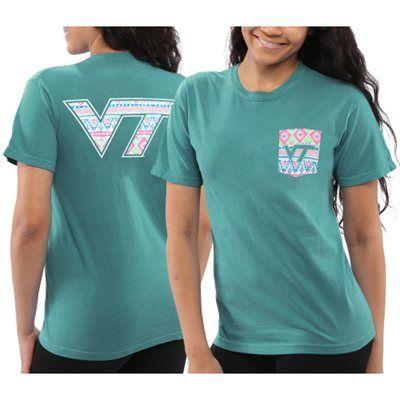 Women's Virginia Tech Hokies Seafoam Coastal Aztec T-Shirt
