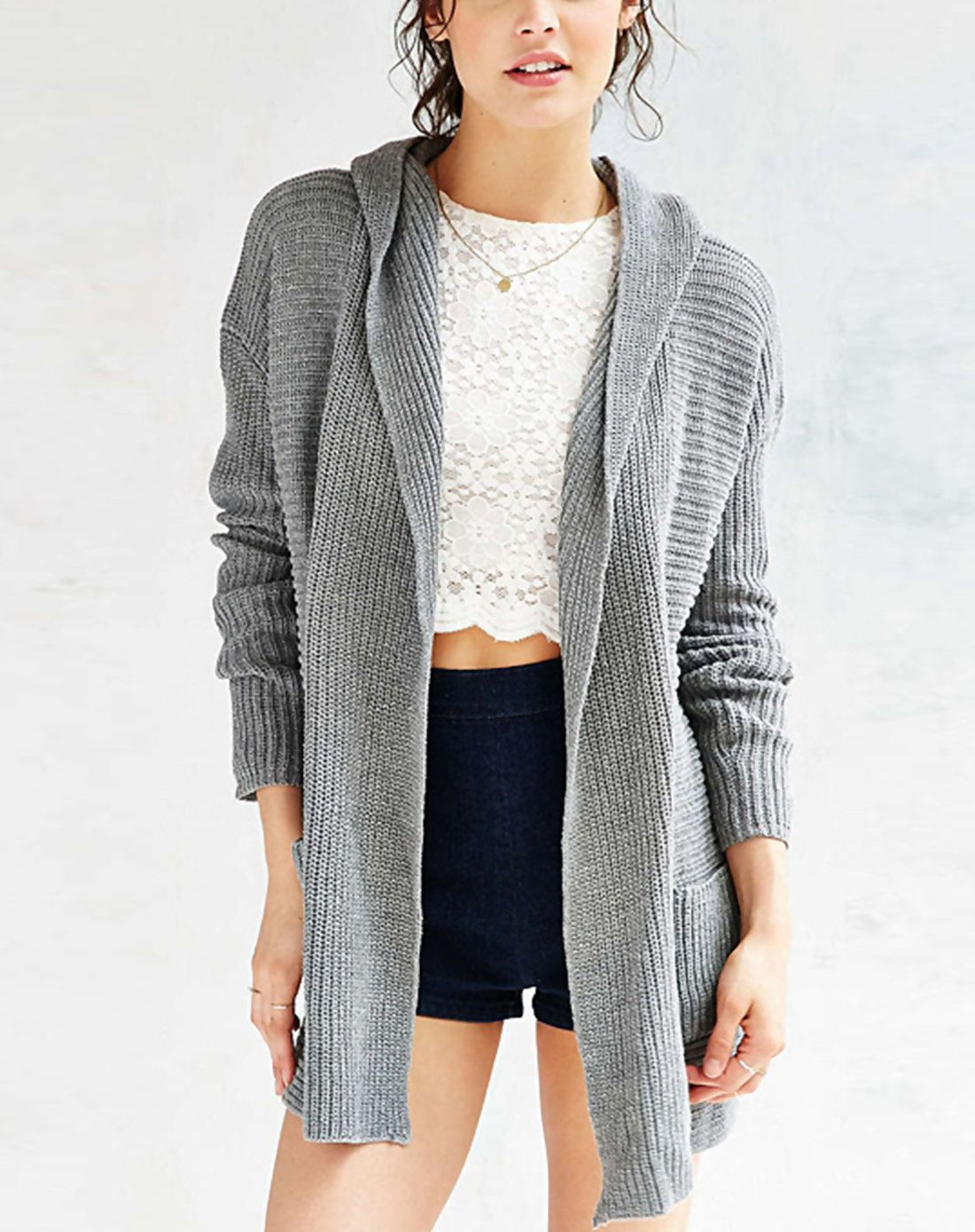 RichcocoClassic Grey Hoodie Sweater Cardigan With Pockets ...